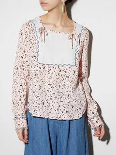 PAMEO POSE(パメオポーズ) |LIZARD PATTERN LACE-TRIMMED BLOUSE 画像01