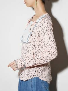 PAMEO POSE(パメオポーズ) |LIZARD PATTERN LACE-TRIMMED BLOUSE 画像02