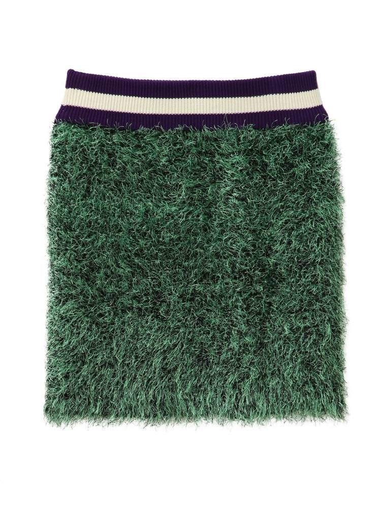 PAMEO POSE SHAGGY KNIT SKIRT