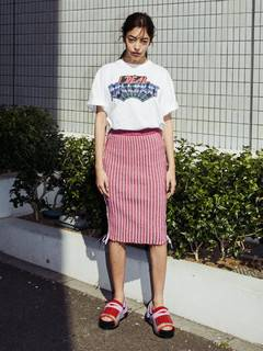 PAMEO POSE(パメオポーズ) |KITTEN GLITTER STRIPE KNIT SKIRT 画像01