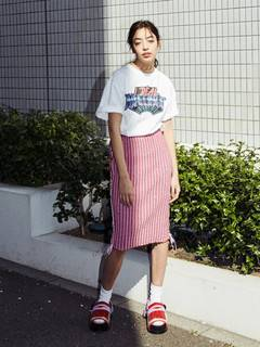 PAMEO POSE(パメオポーズ) |KITTEN GLITTER STRIPE KNIT SKIRT 画像02