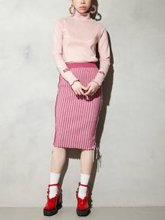 PAMEO POSE(パメオポーズ) |KITTEN GLITTER STRIPE KNIT SKIRT 画像04