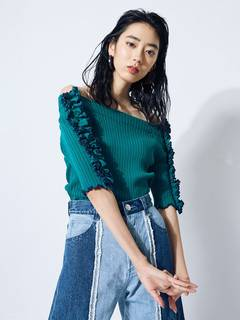 PAMEO POSE(パメオポーズ) |BI-COLLAR TRIMMED KNIT TOP 画像02