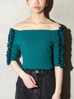 PAMEO POSE(パメオポーズ) |BI-COLLAR TRIMMED KNIT TOP 画像11