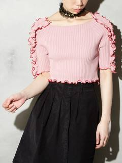 PAMEO POSE(パメオポーズ) |BI-COLLAR TRIMMED KNIT TOP 画像23