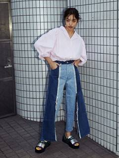 PAMEO POSE(パメオポーズ) |POWER SHOULDER STRIPE SHIRT 画像01
