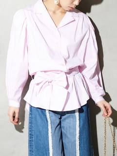 PAMEO POSE(パメオポーズ) |POWER SHOULDER STRIPE SHIRT 画像06