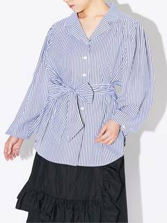 PAMEO POSE(パメオポーズ) |POWER SHOULDER STRIPE SHIRT 画像18