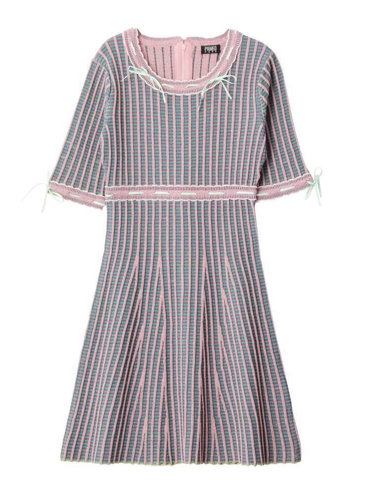 PAMEO POSE KITTEN GLITTER STRIPE KNIT DRESS