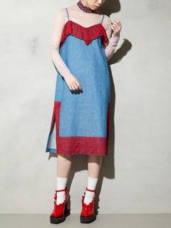 PAMEO POSE(パメオポーズ) |LACE TRIMMED DENIM CAMI DRESS 画像11