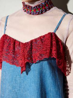 PAMEO POSE(パメオポーズ) |LACE TRIMMED DENIM CAMI DRESS 画像14