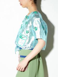 PAMEO POSE(パメオポーズ) |【KLOSET】EMBROIDERED TIE-FRONT TOP 画像03