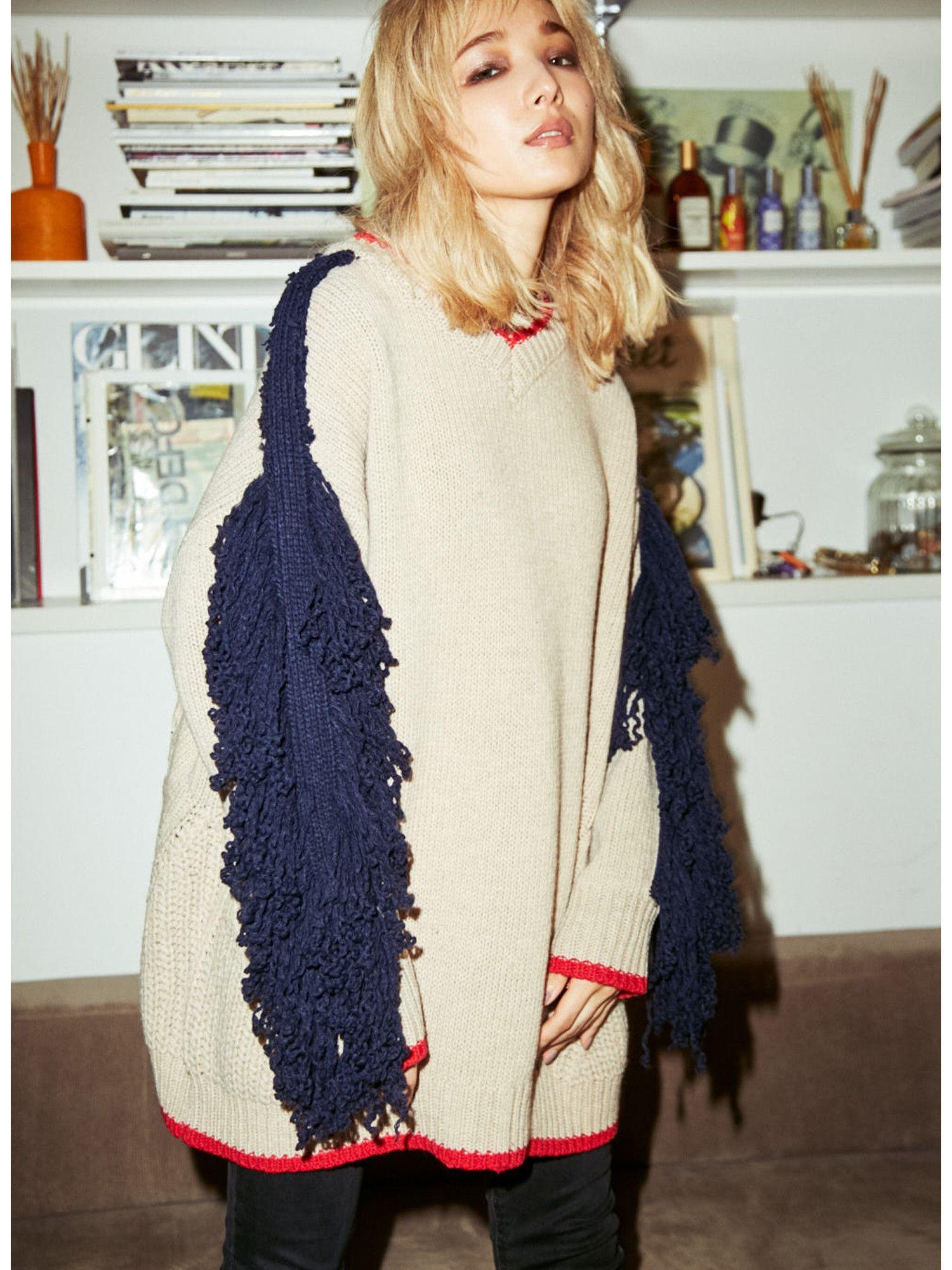 Fringe Sleeve Big Sweater