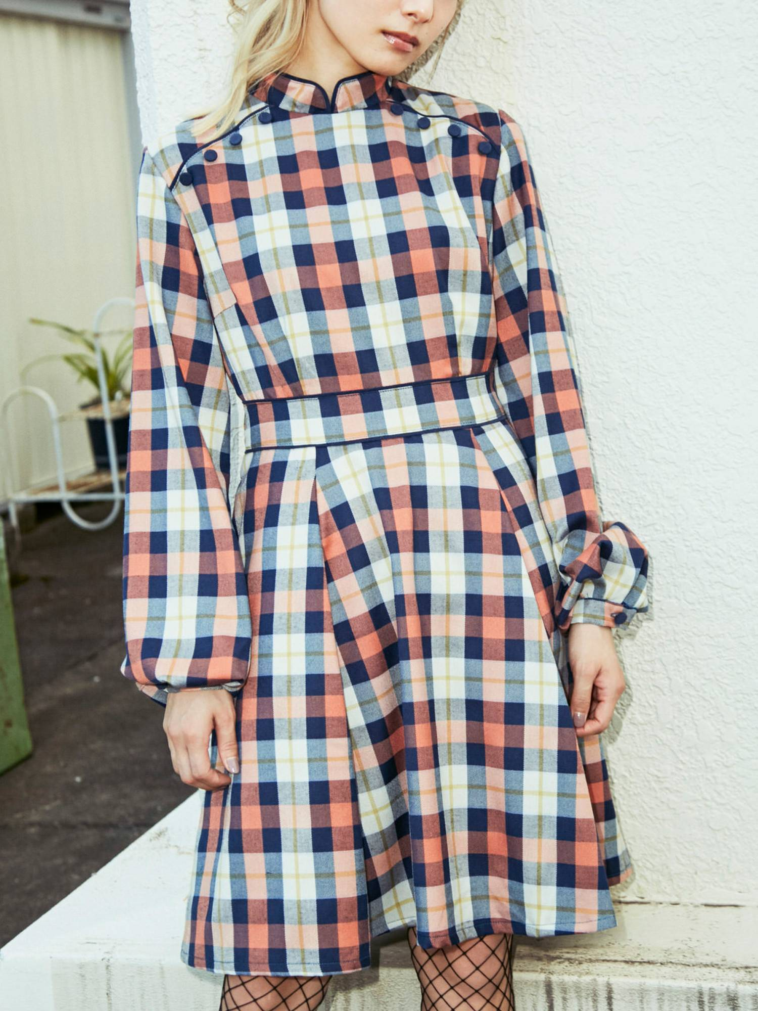 Mandarin Dress Plaid