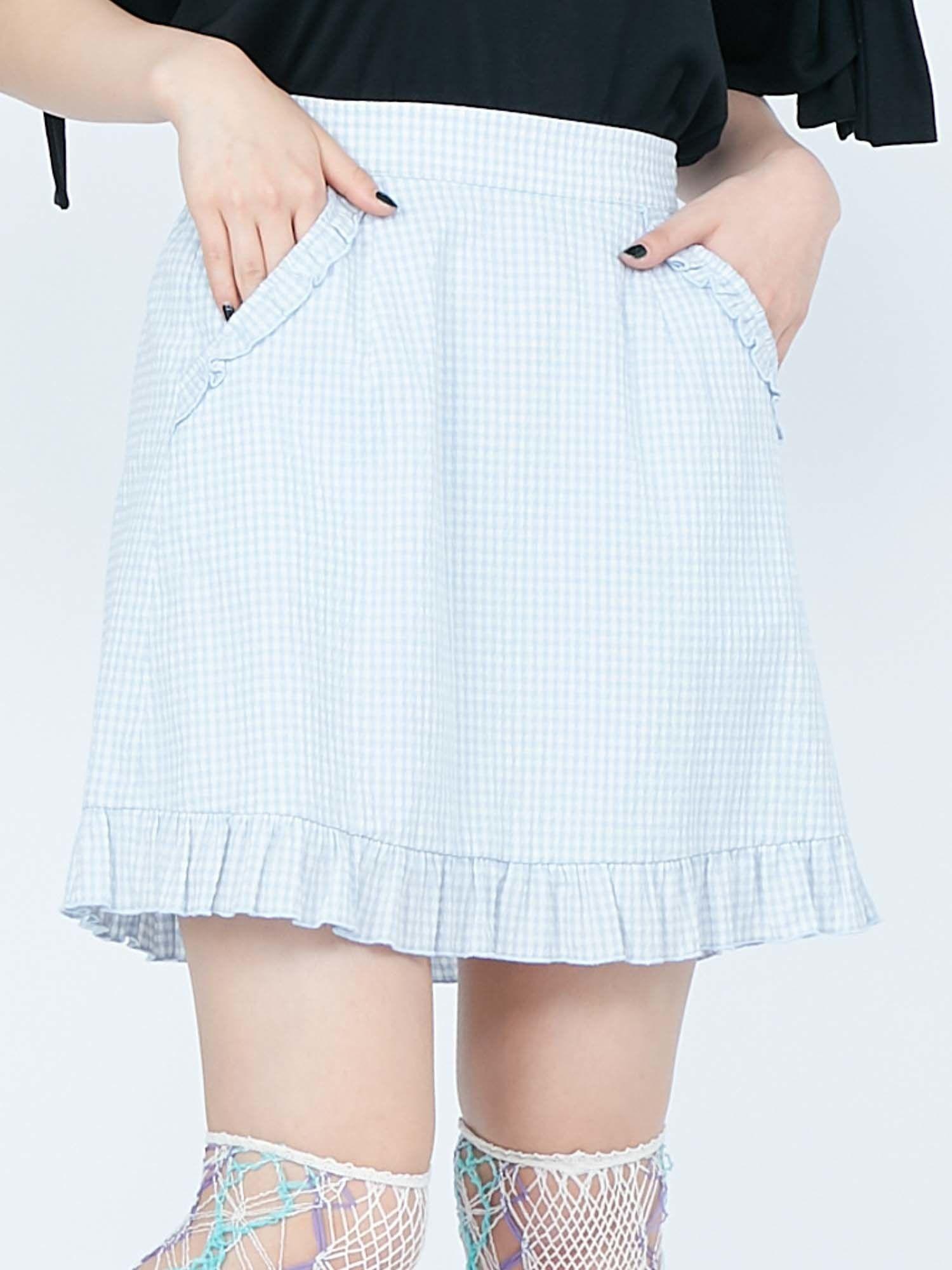 Gingham frills mini skirt