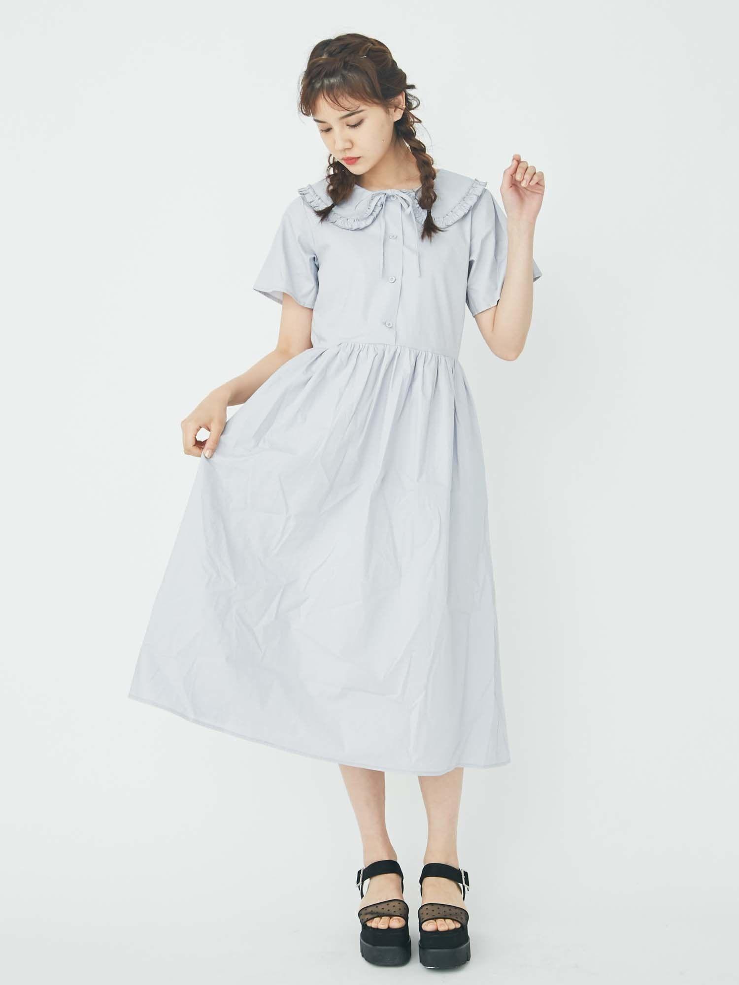 大皺褶領連衣裙絲帶