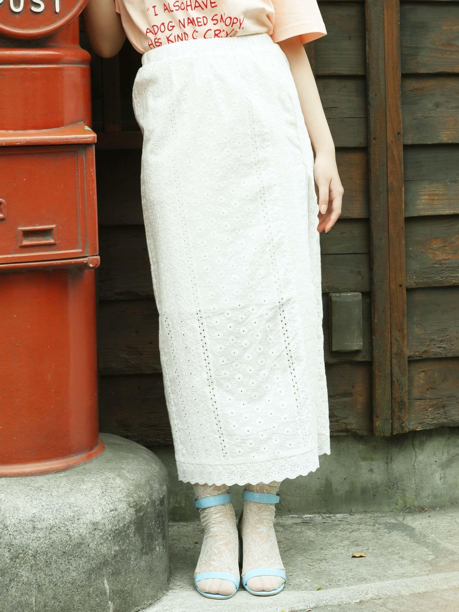 全棉花边铅笔裙