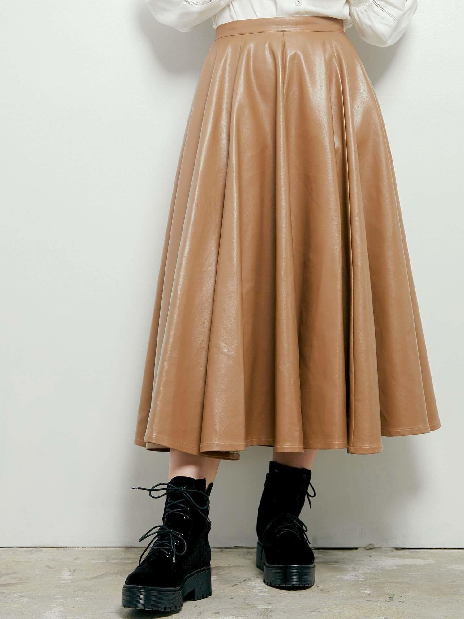 PU圆形喇叭裙