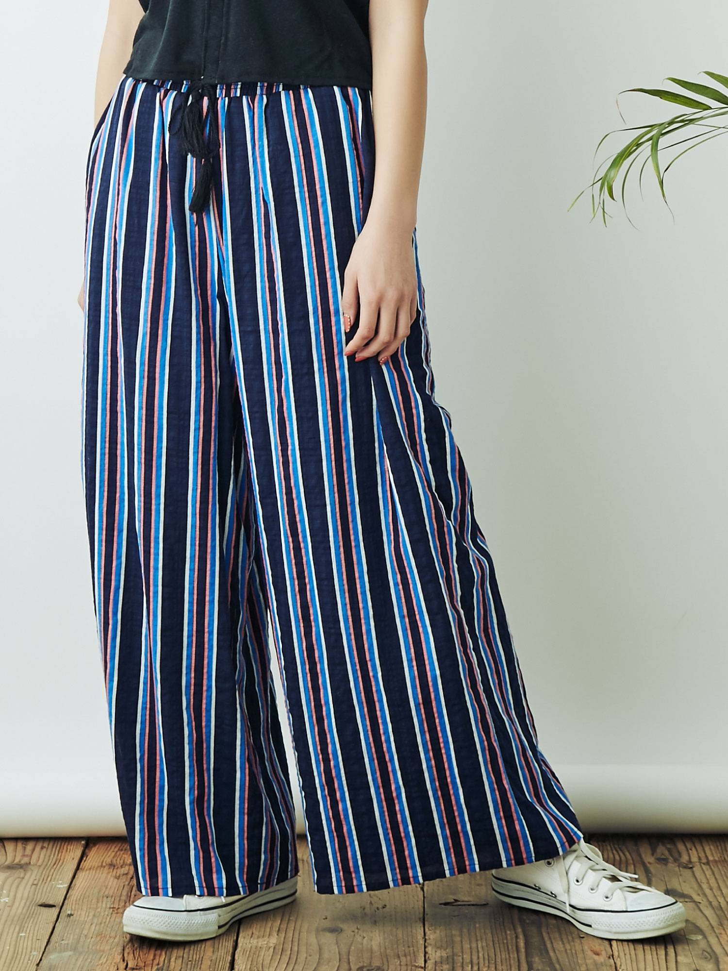 Print stripe wide pants