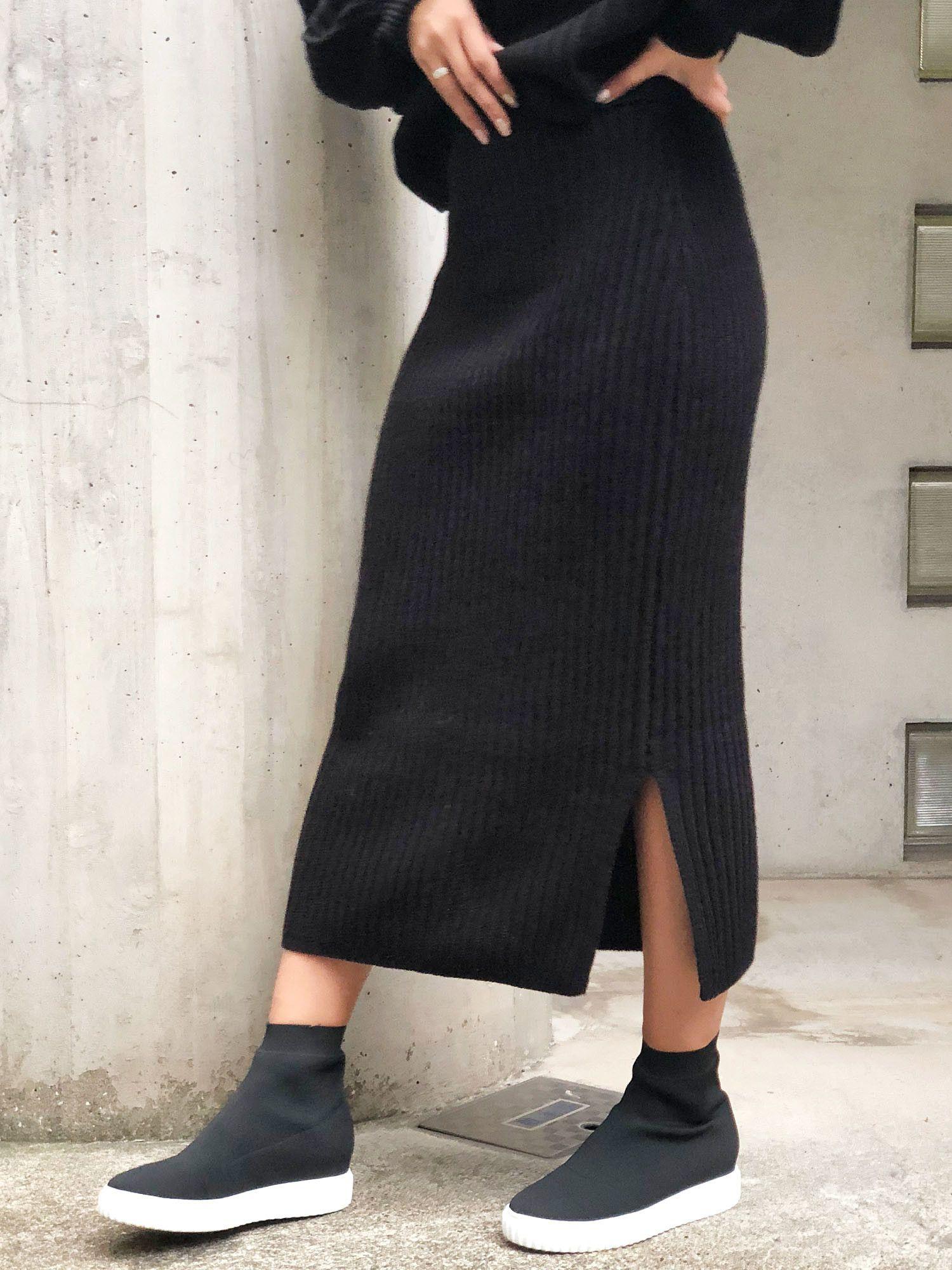 Bulky rib knit skirt