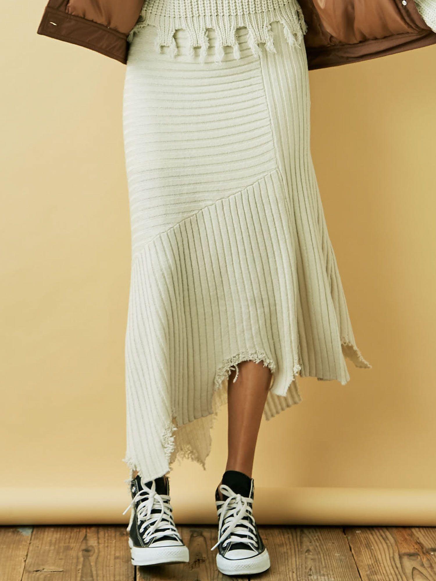 Damage rib knit skirt