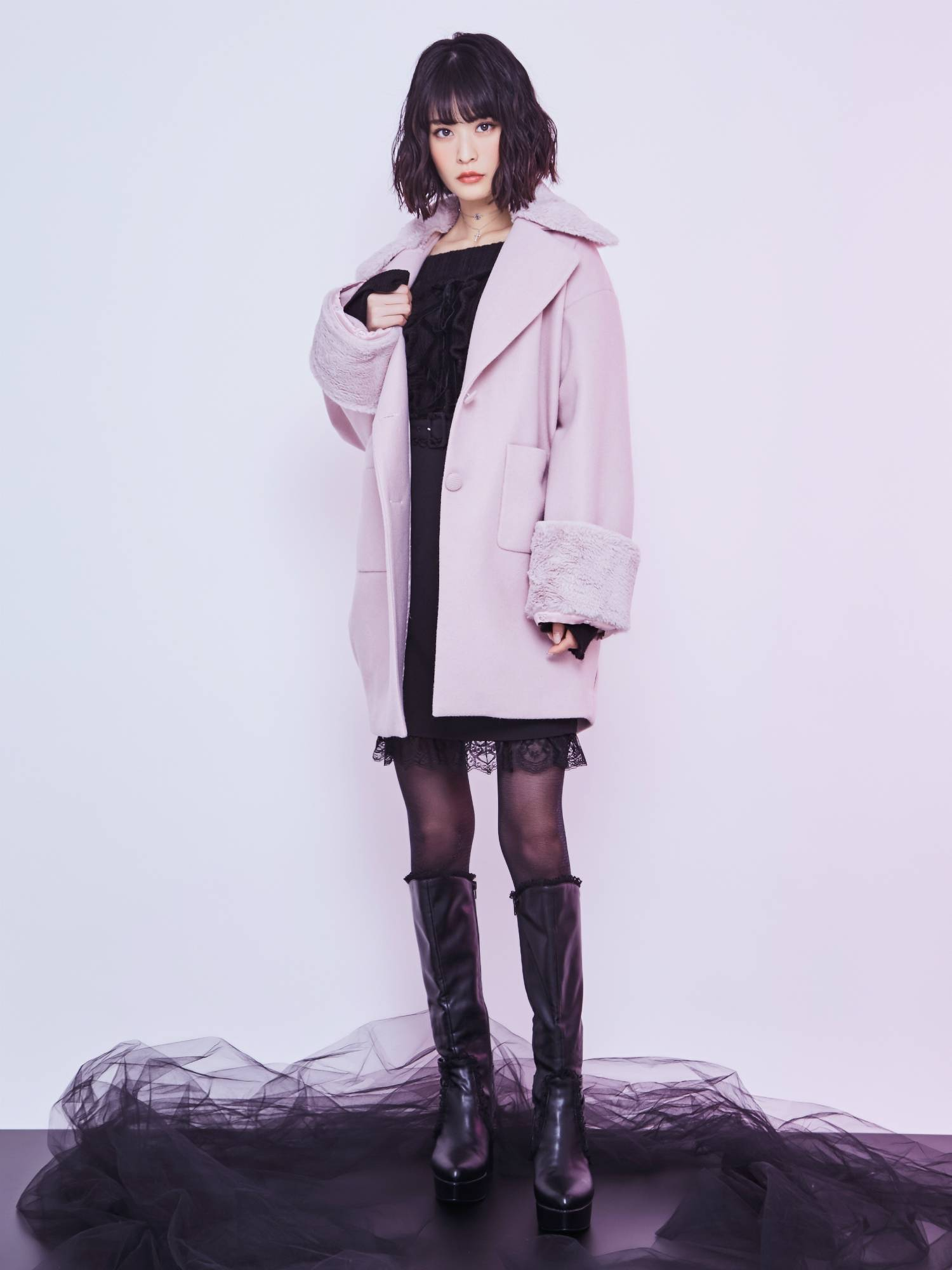 BACK lace-up coat