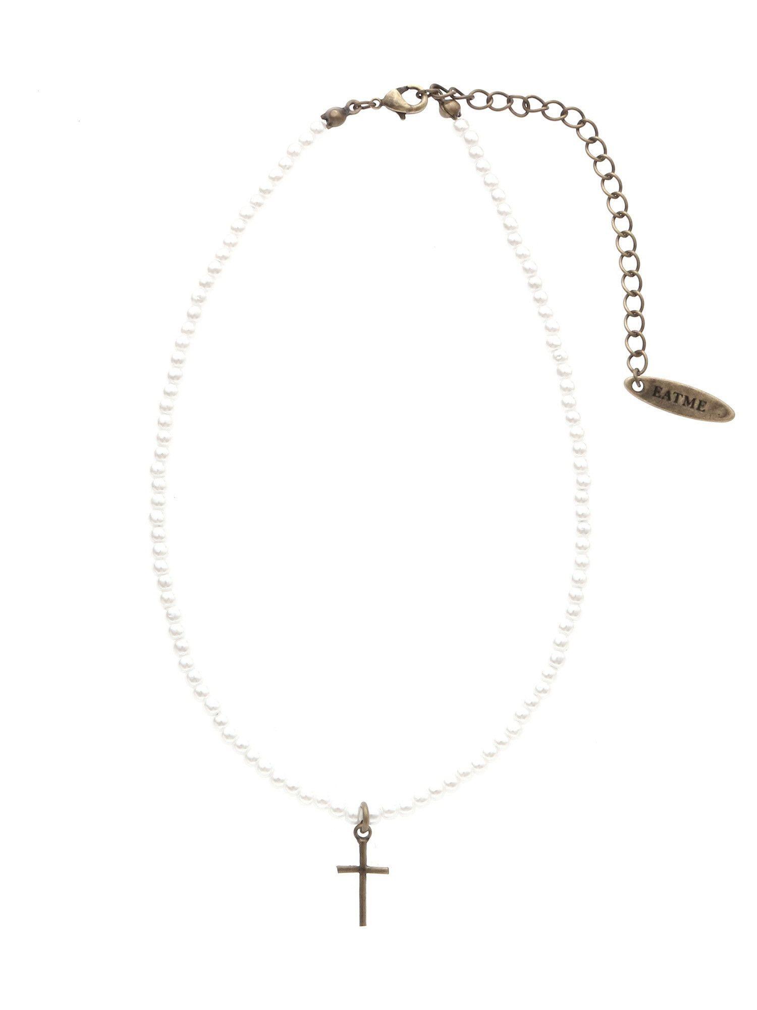 十字魅力人造珍珠项链