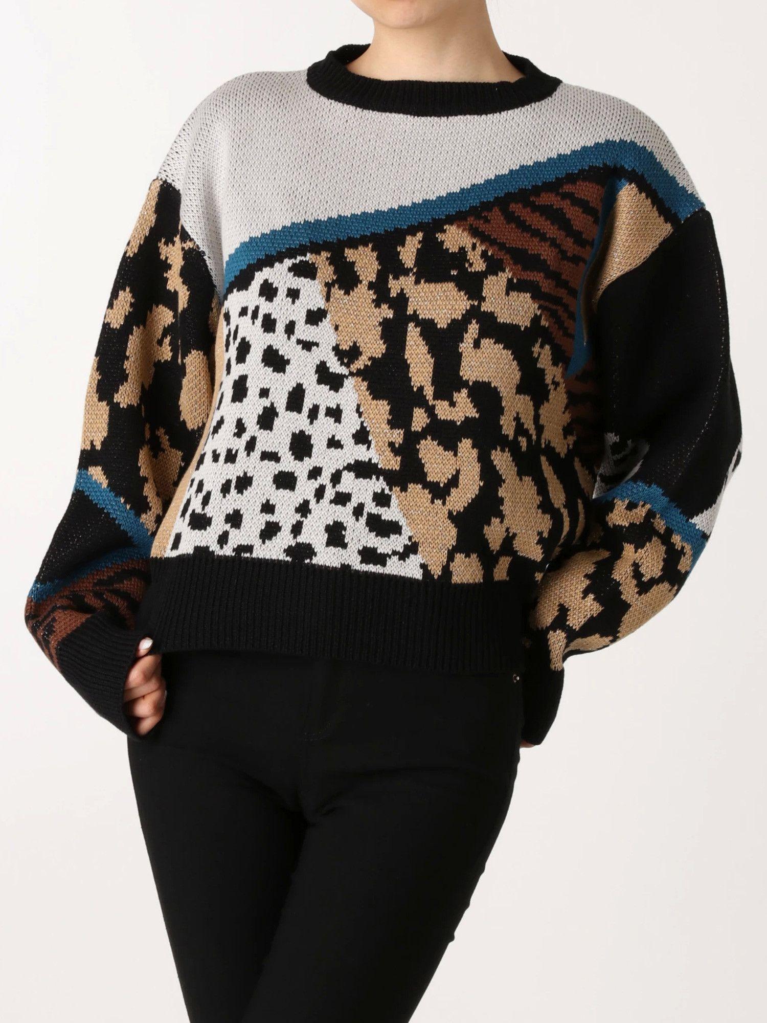 Blocking jacquard short knit pullover