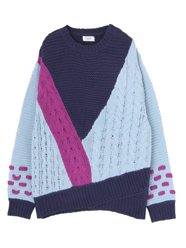 MIX cable knit pullover
