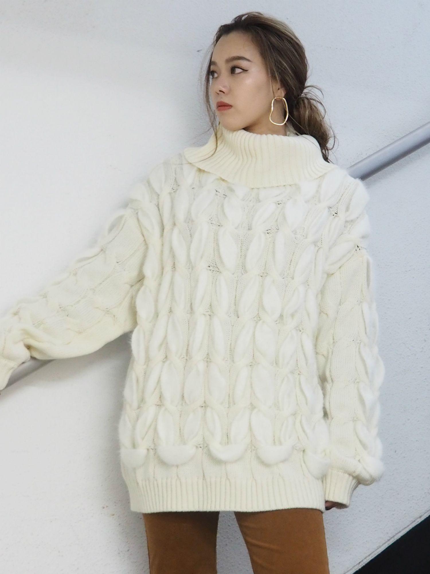 [WEB有限]電纜鬆散針織裙
