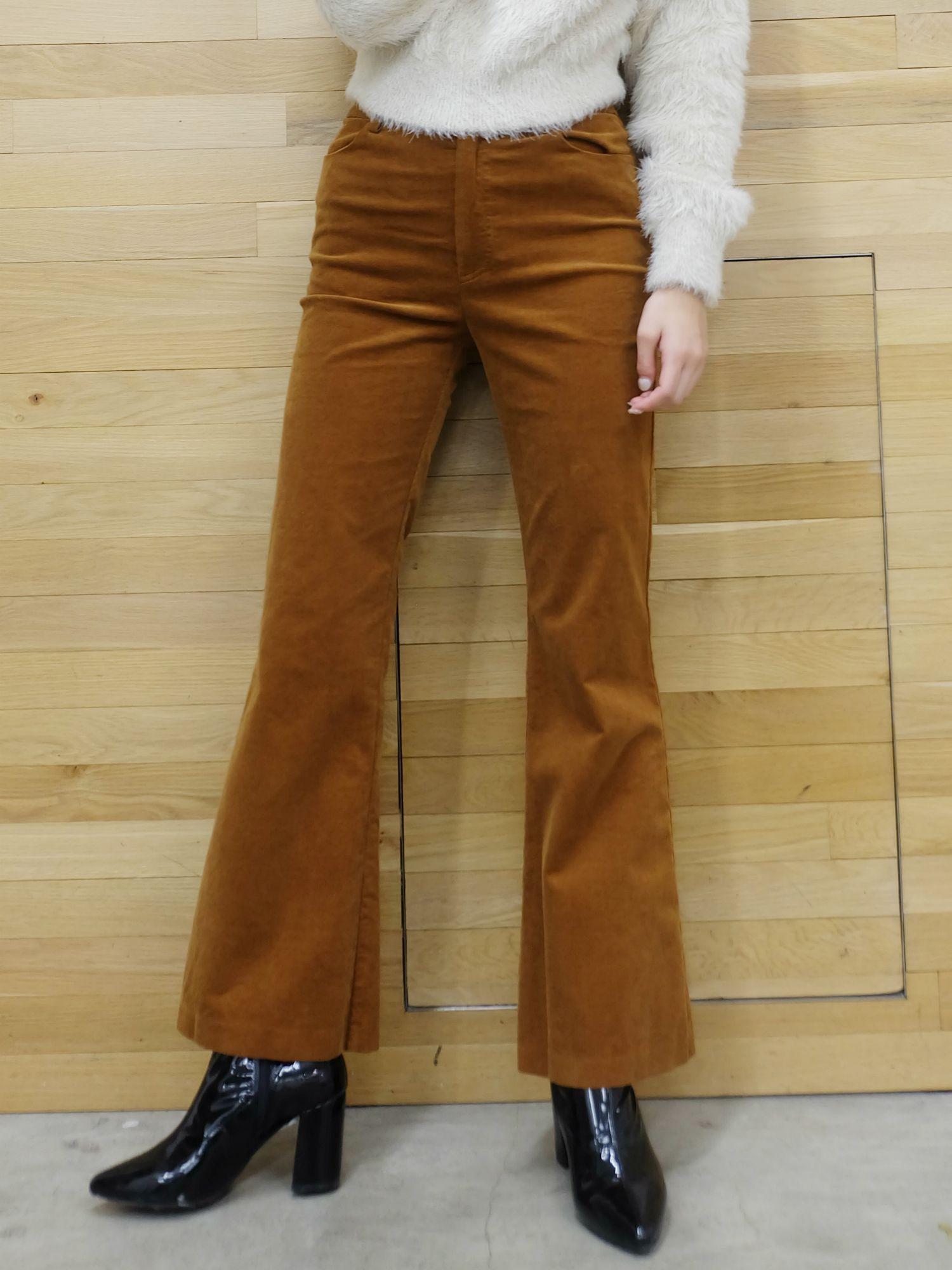 Velor-like boot-cut pants