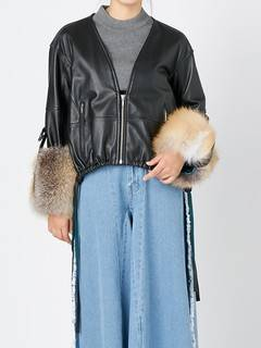 ELENDEEK(エレンディーク) |V NECK LEATHER FUR BLOUSON 画像010