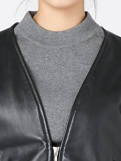 ELENDEEK(エレンディーク) |V NECK LEATHER FUR BLOUSON 画像14