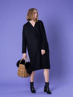 ELENDEEK(エレンディーク) |DOLMAN COCOON WOOL ONE-PIECE 画像02
