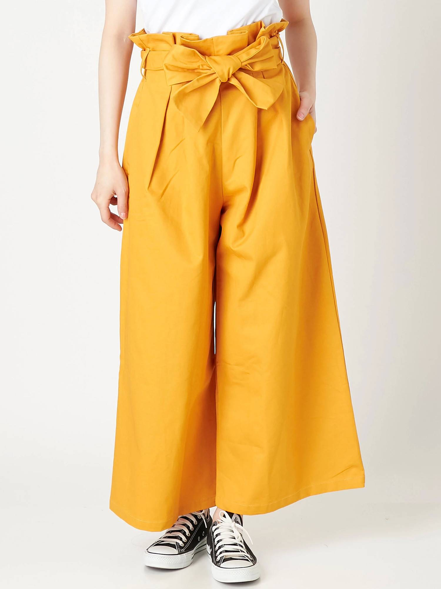 [WOMEN] cotton twill ribbon waist high waist wide pants