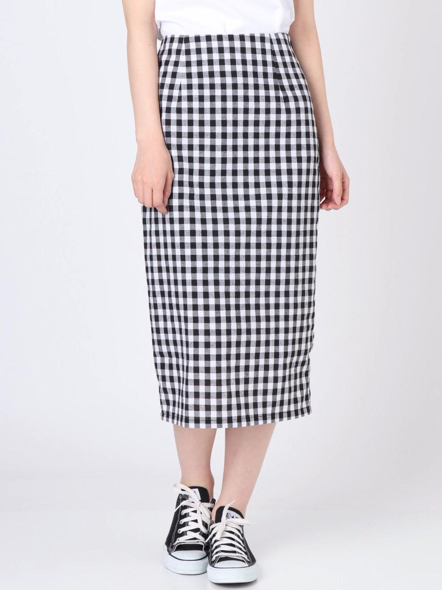 [妇女]条纹布检查紧身裙