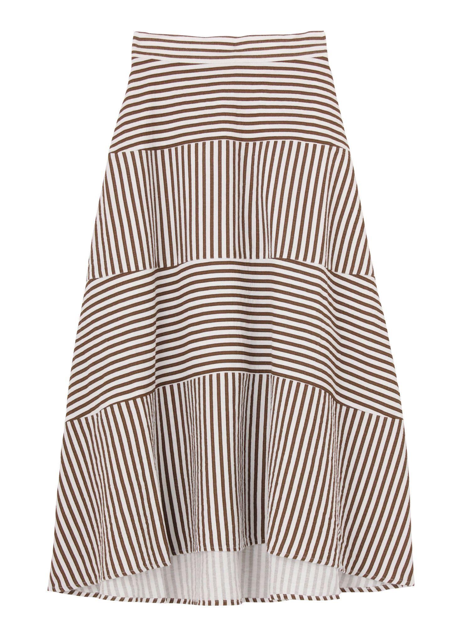 [婦女]條紋分層裙