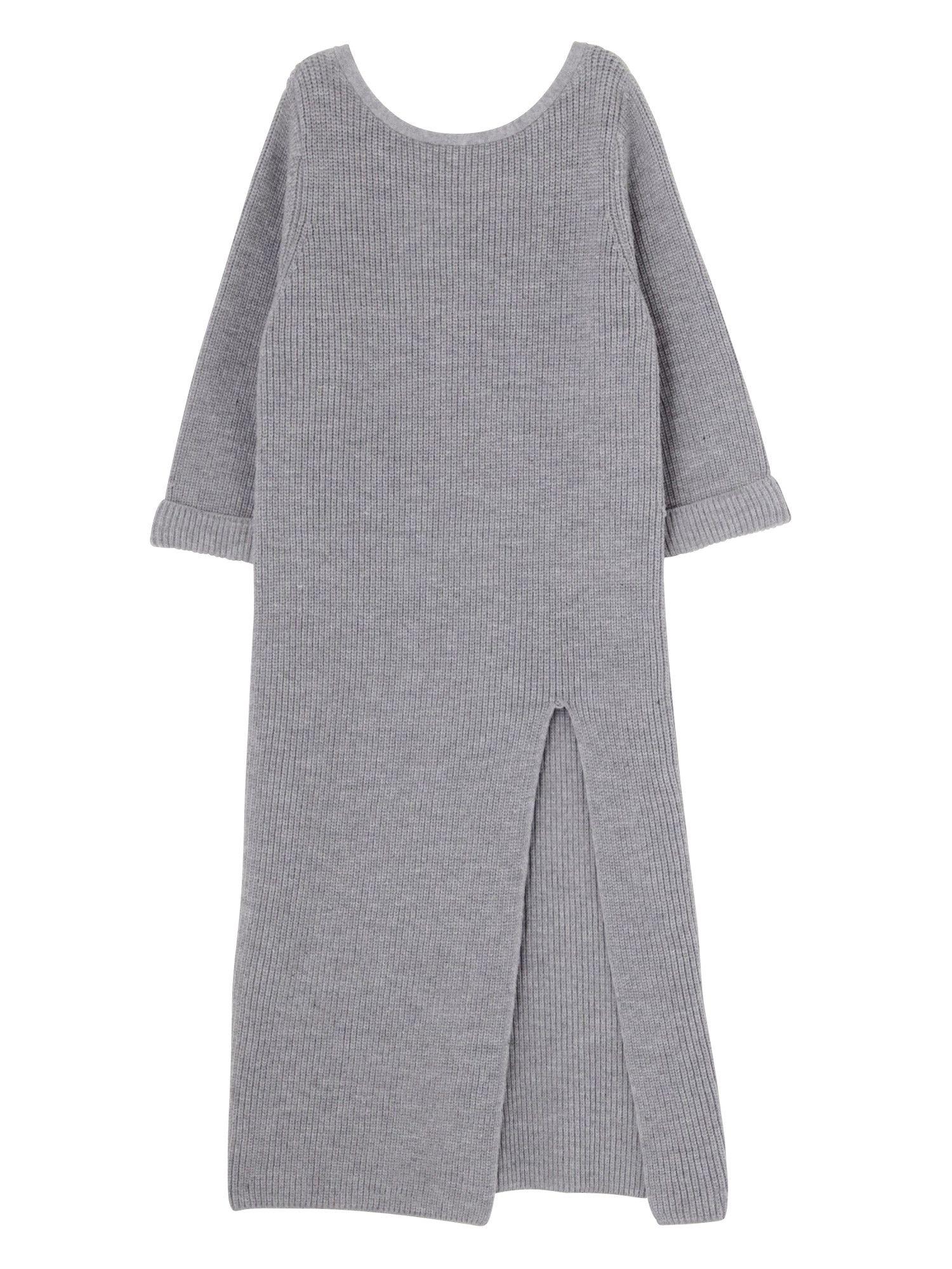 长缝罗纹针织连衣裙