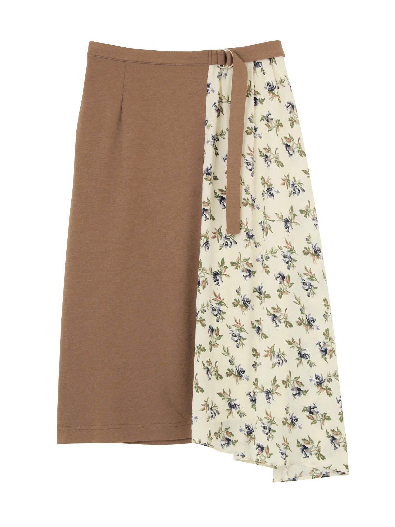 フラワーレイヤード風スカート