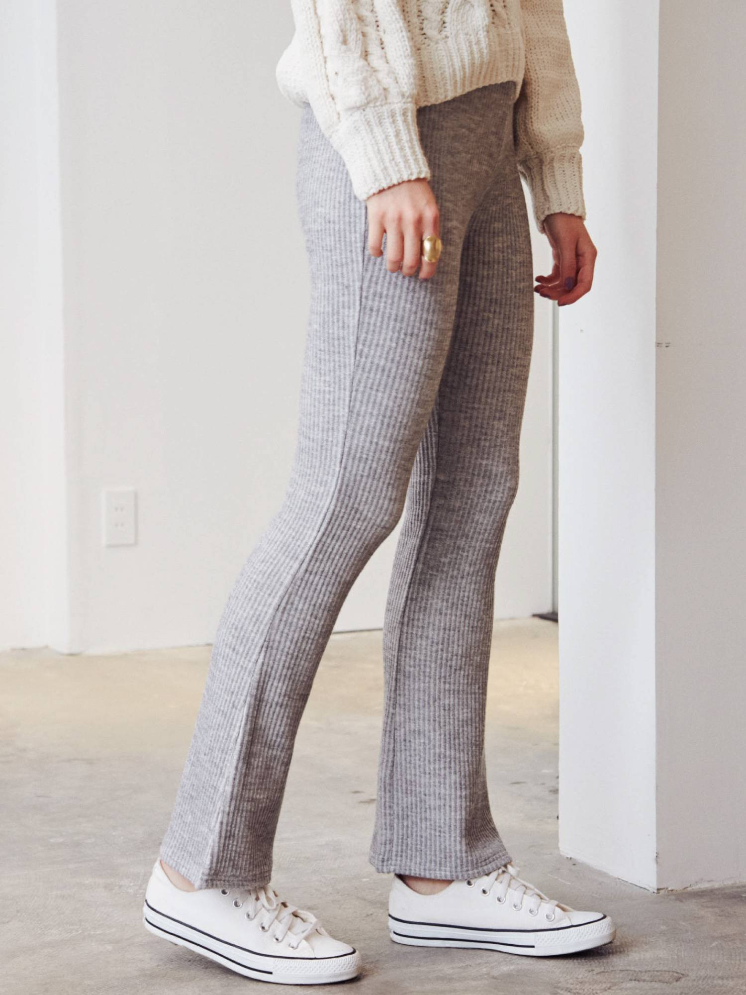 Knit rib flare wide pants