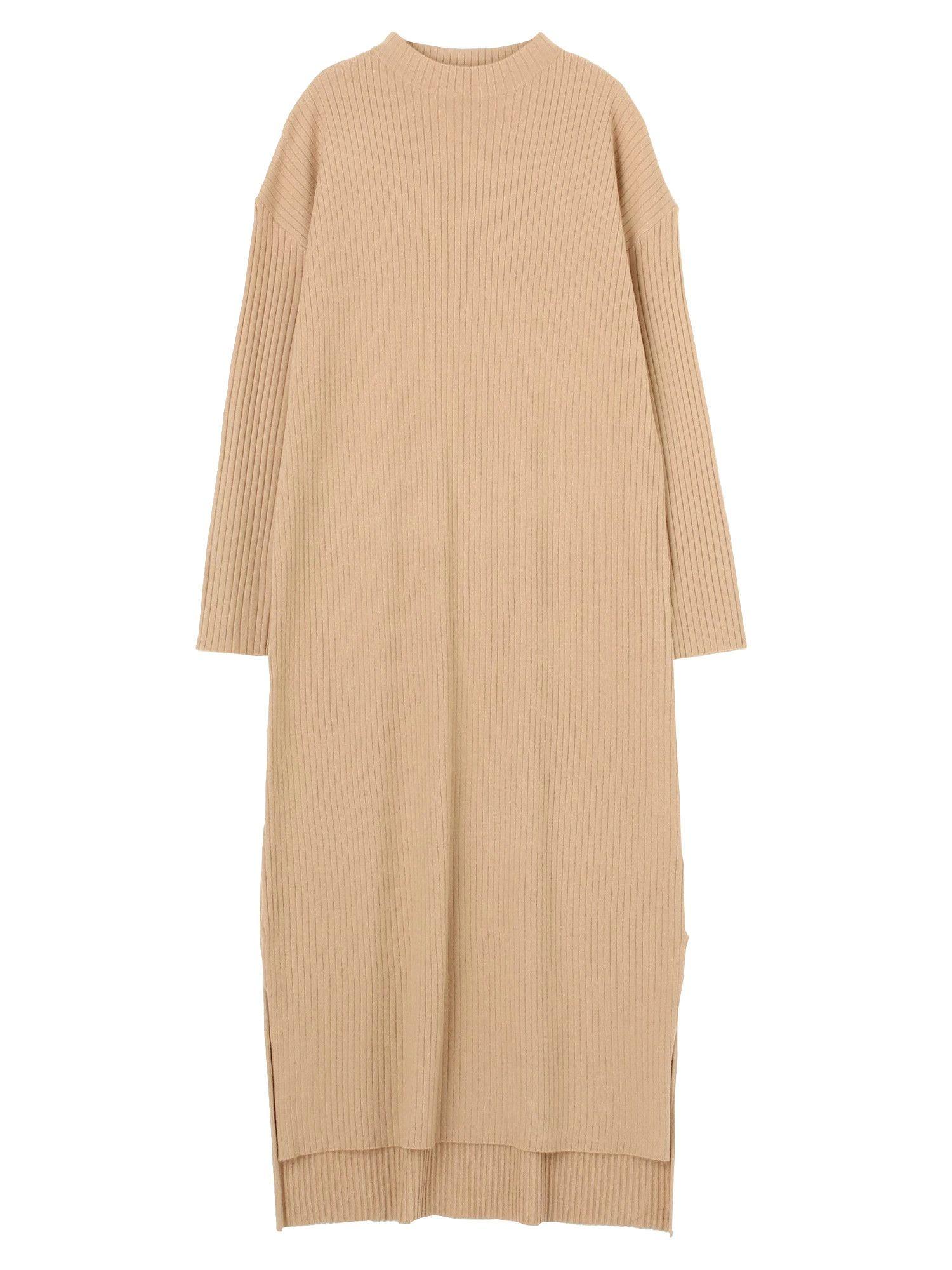 罗纹缝针织连衣裙