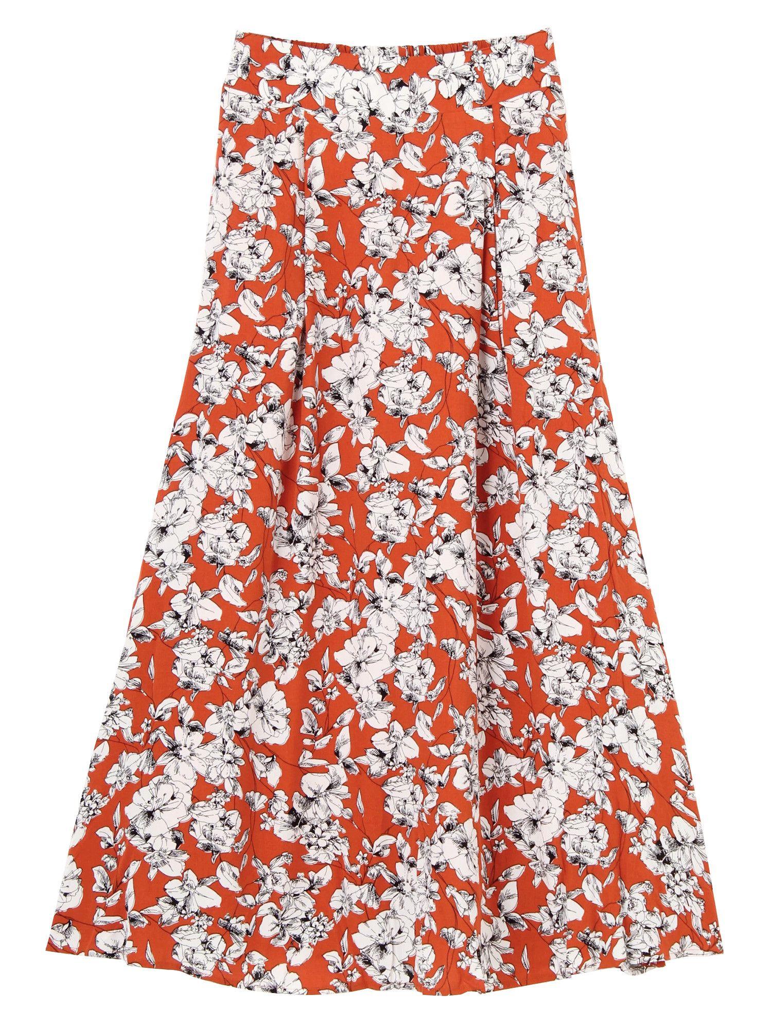 Resort handle long flared skirt
