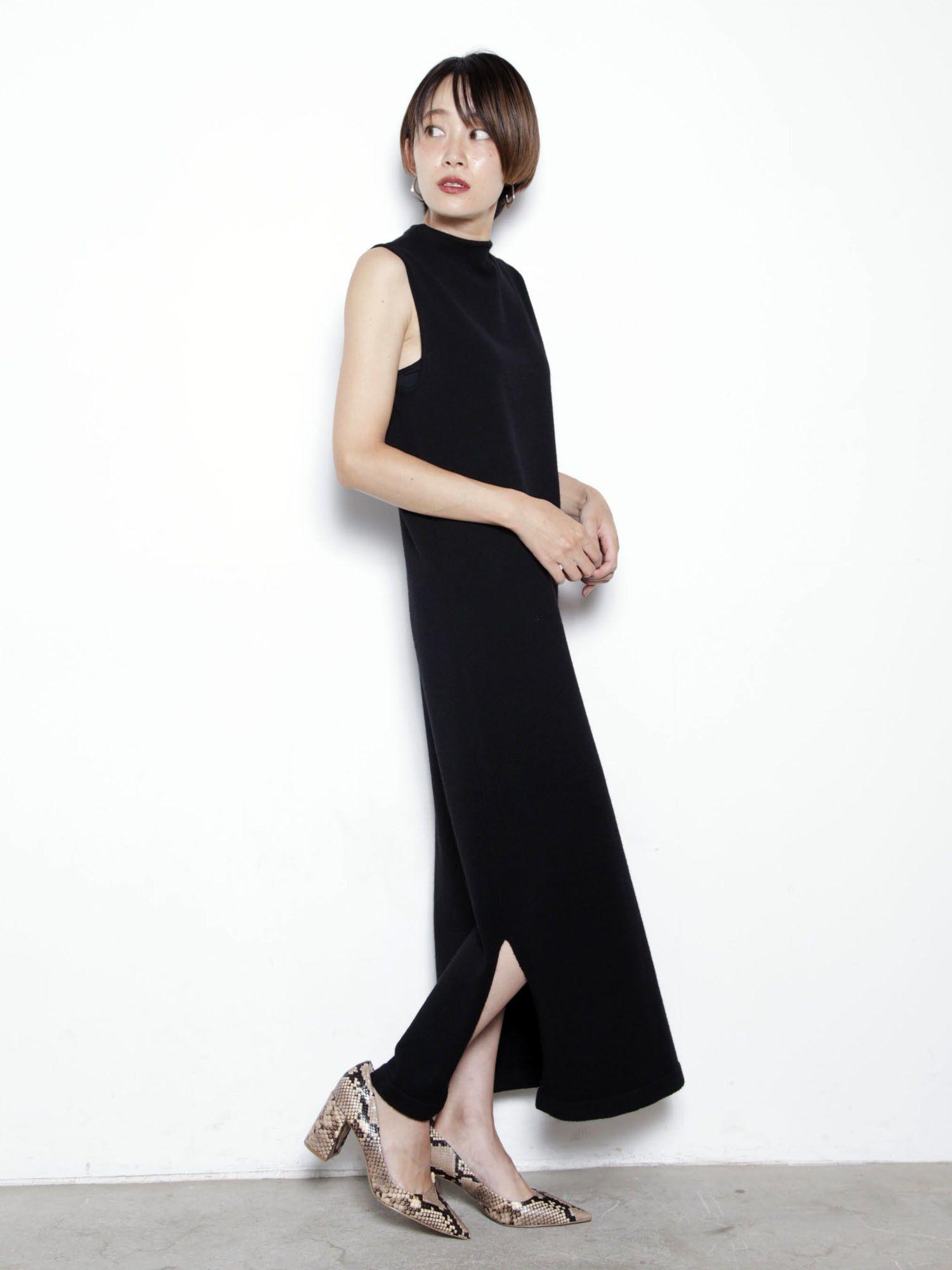 側縫針織連衣裙