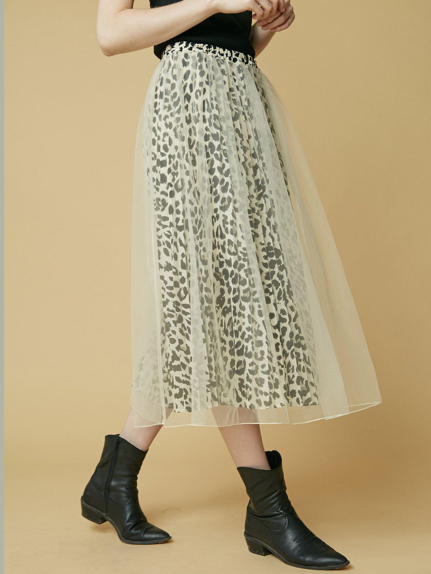 豹纹百褶薄纱裙
